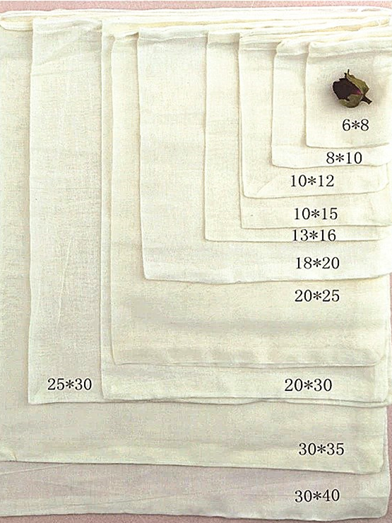 Custom packing fabric pouch small drawstring bag cotton muslin organic tea bags