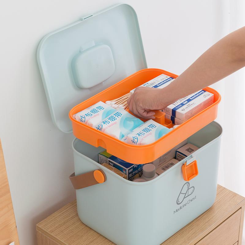 플라스틱 알약 분배 상자 여행 의학 상자 응급 상자 의학 가슴 잠금