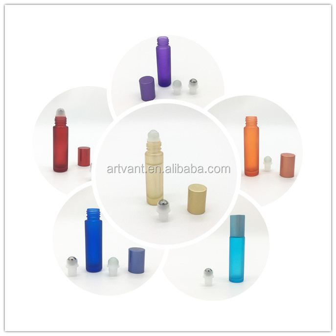 10ml Thick Glass Roll On Essential Oil Empty Perfume Bottles with Metal / Glass Roller Ball Travel Use Refillable Bottle