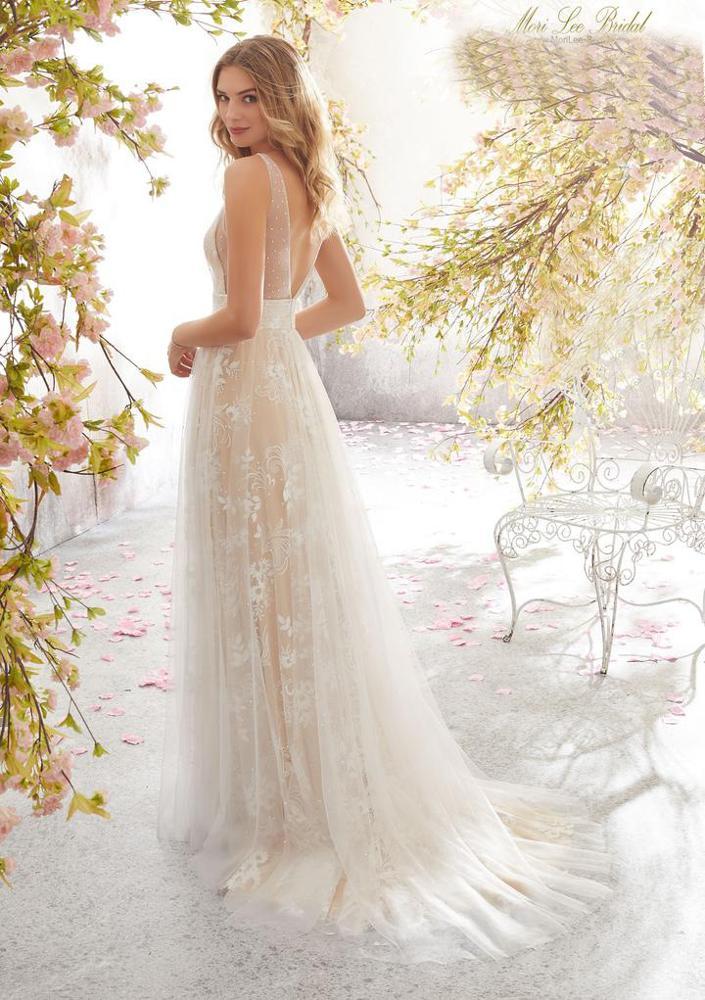 Fashion Gaun Pengantin Lace Embroidered Bride Gown Bondage Low Back Wedding Dress White