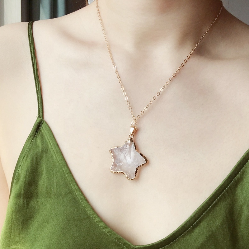 Amazon new style gold/silver plated claw setting clear quartz healing chakra pendant necklace of star,moon and square for woman