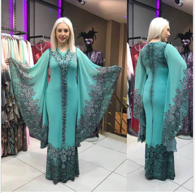 A6441Women Long Chiffon Caftan Casual Loose Lotus Leaf Long Blue Batik Sleeve Beach Holiday Maxi Dress