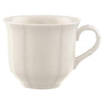 European classic good quality plain ceramic 225ml  white cups with handle for coffee