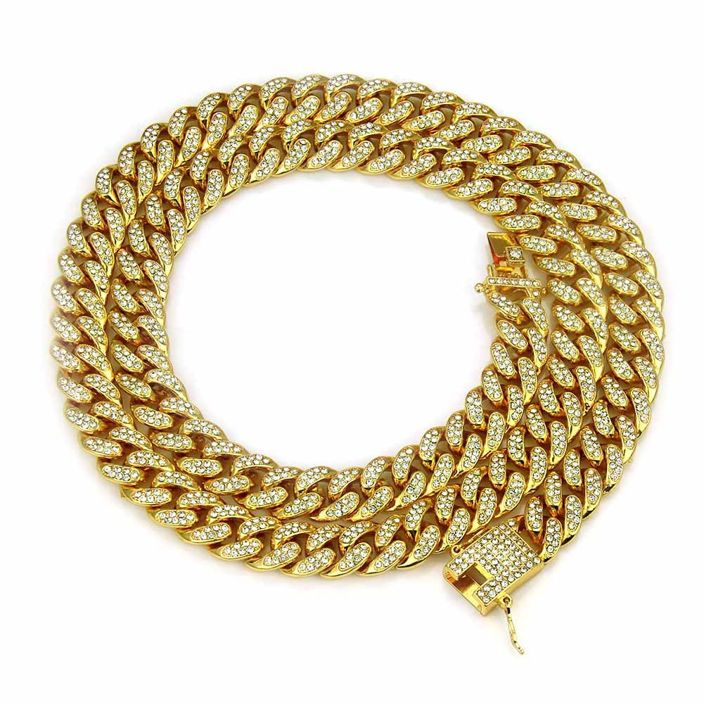 18K Gold Plated 12mm Alloy Miami Iced Out Cuban Link Chain Necklace For Men