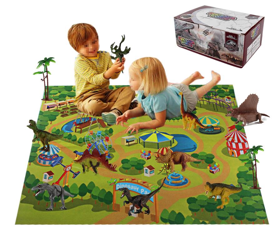 Juguetes Al Por Burgemeester De Dinosaurio Niet-geweven Mat Play Set Kids Toy Groothandel Met Pvc Dinosaurus Model