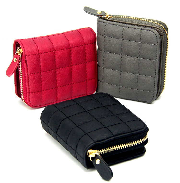 Female Plaid Bag Card Holder Small Wallet Zipper Clutch coin purse leather women purse wallet