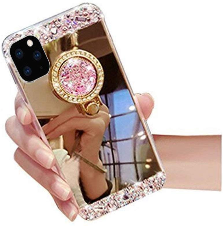 Diamond Mirror Bling Phone Case with Ring Holder for iPhone 11 pro <strong>Max</strong>,for iPhone 11 Rhinestone Case Cover Glitter
