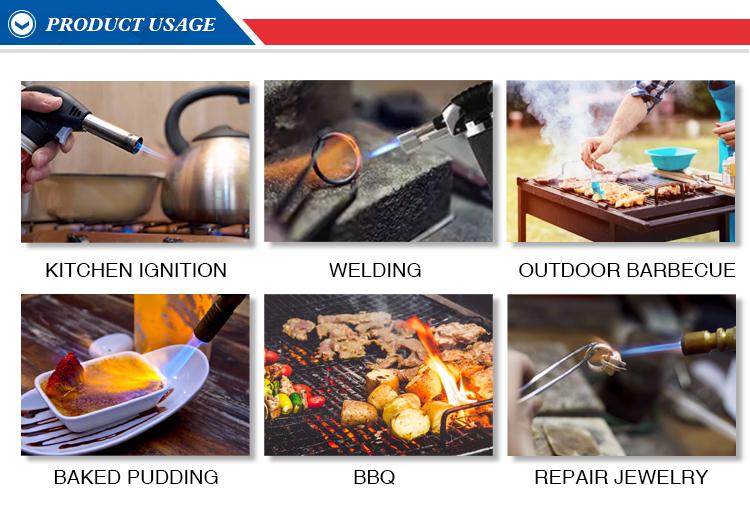 Wärme schnell hohe festigkeit BS-470 glatte oberfläche blank küche kulinarische butan gas jet-flame torch feuerzeuge