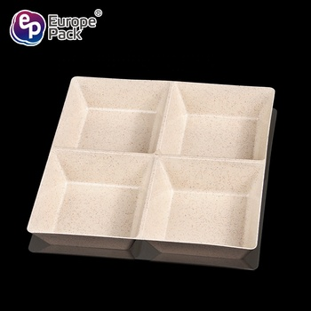 BPA free disposable plastic candy 4-compartment wheat straw containers for dessert