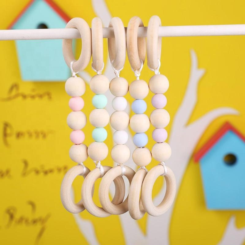 Infant Nursing Teething Training Accessories Newborn Care Beads Silicone Baby Wooden Teether Ring Chain
