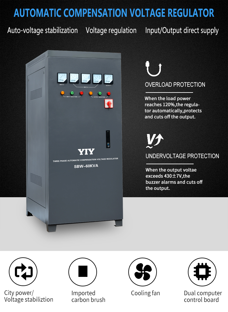 YIY CE Approved SBW-60KW three phase Stabilizer 380V voltage stabilizer 60K watt