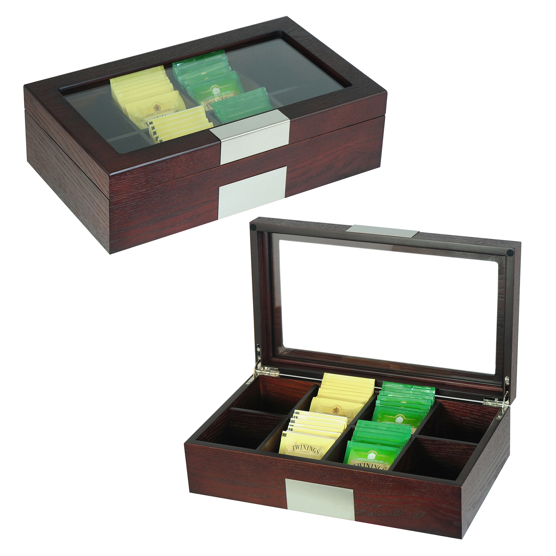 Sonny Wooden Tea Box 8 Compartments Cherry OAK Grain Veneer Tea Organizer Sample Order Acceptable