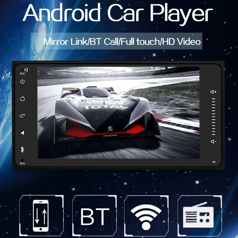 2 Din Car Android GPS Navigation Android 7.1 1+16GB Wifi Bluetooth Android GPS Car Radio