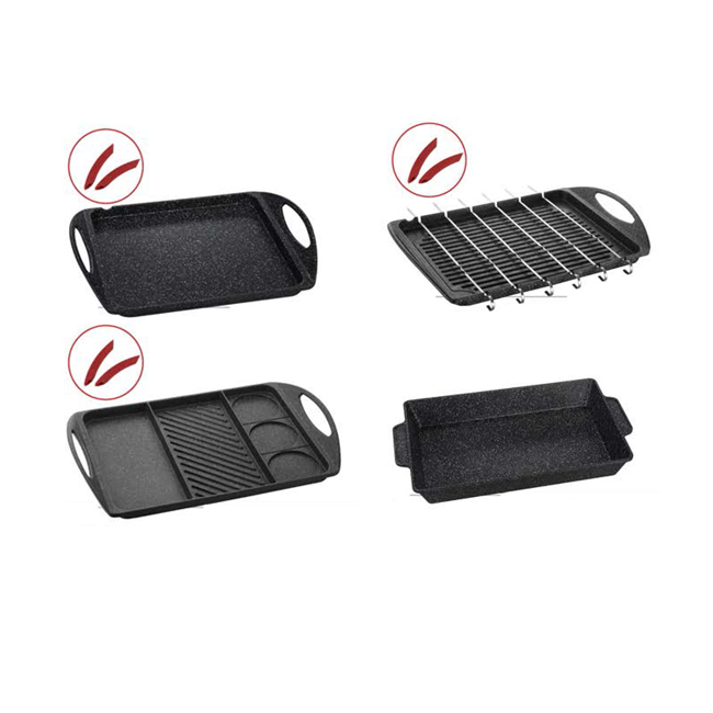 high quality rectangular cast iron griddle grill frying pan
