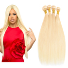 Brazilian Virgin Human Hair Weave Bundles 10-30 Inch Straight Hair 613 Honey Blonde Bundles