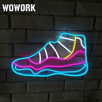 WOWORK wholesale waterproof 3D Customized LED RGB sneaker flexible neon sign with acrylic backing