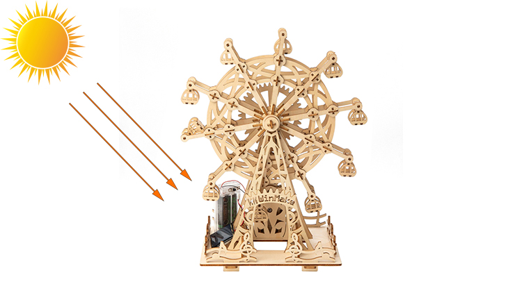 Solar ferris wheel diy craft kits wood puzzle 3d for adults and kids