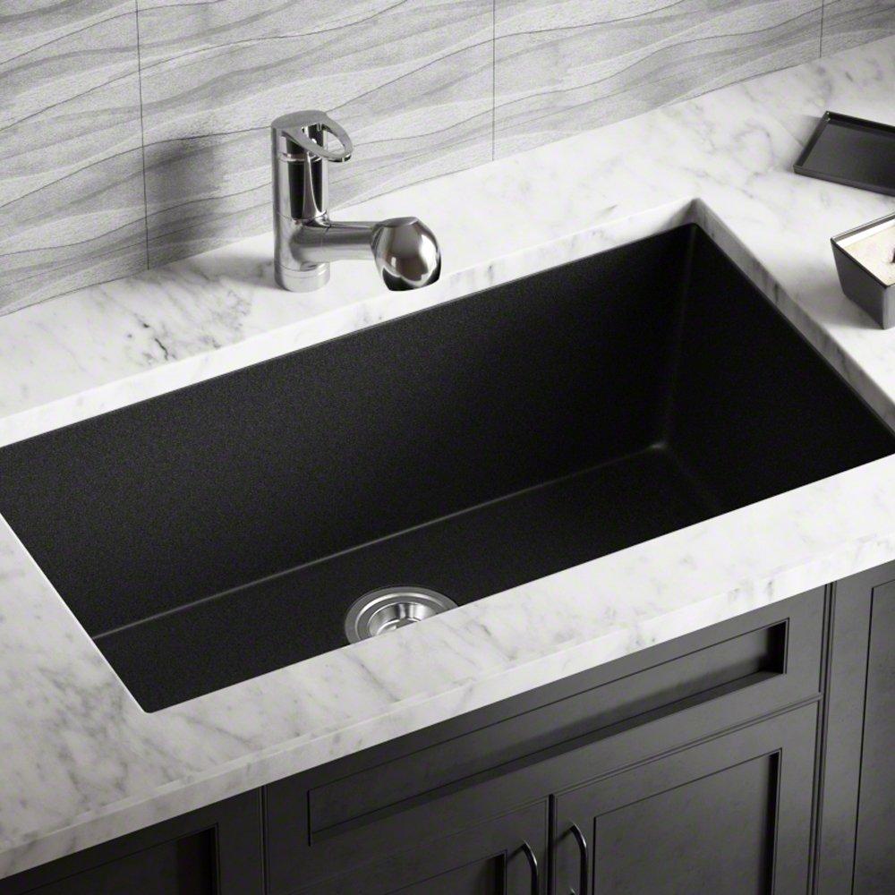Aquacubic 30 inch Cupc Certified Gunmetal Black PVD Nano Single Bowl Undermount Stainless Steel Kitchen Sink