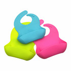 Waterproof Silicone Baby Bib Soft Cute for Toddlers Babies with Large Pocket Bibs