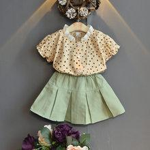 Бесплатная доставка, 2020, комплект модной одежды для девочек из 2 предметов, летние комплекты одежды для маленьких девочек Футболка с принтом...(Китай)