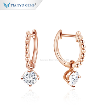 Tianyu Gems New Products 14k Rose Gold 1ct Moissanite Diamonds Charm Earring for Daily Wear