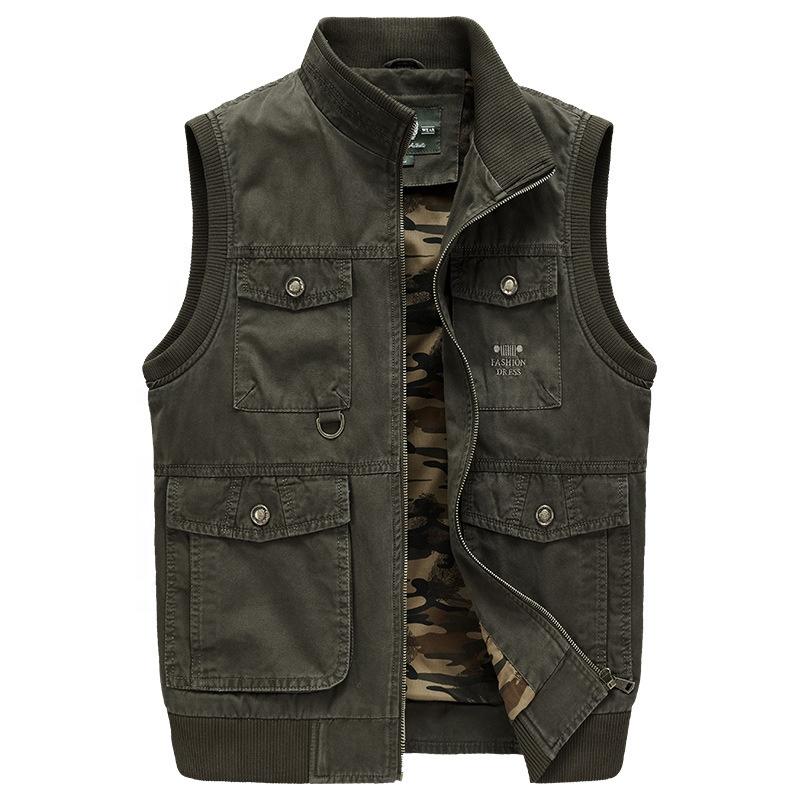 2020 패션 고품질 캐주얼 펑크 남성 전투 버클 스탠드 칼라 민소매 조끼 자켓 낚시 조끼