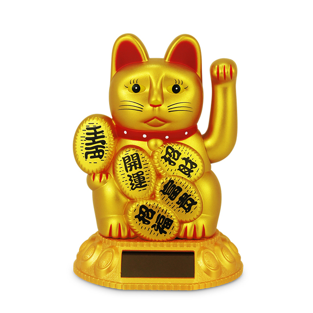 2.5 inch Cute Shaking Hands Solar Lucky Fortune Cat Wealth Waving Figurines
