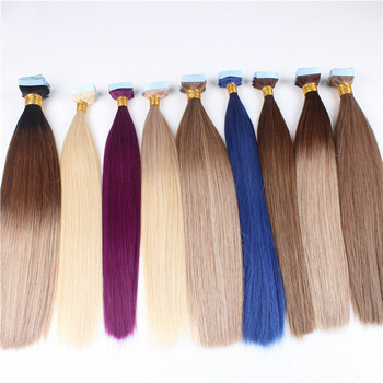 Blonde Highlights Wholesale Double Drawn Remy Tape Hair Extension Virgin Human Hair Balayage Tape In Hair Extensions