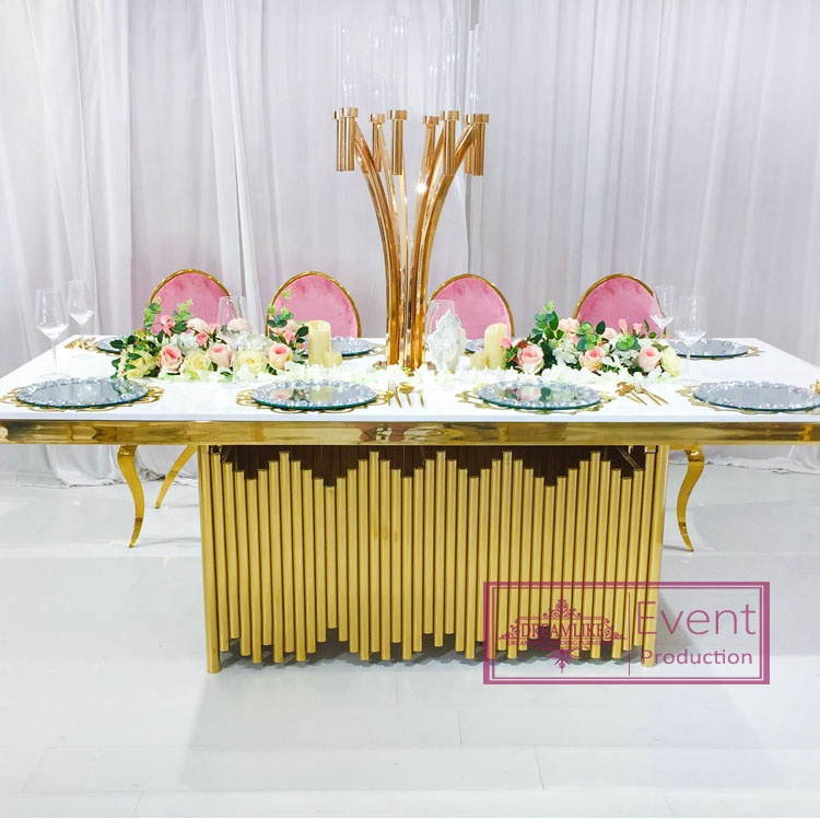 10 seats people gold stainless steel glass table
