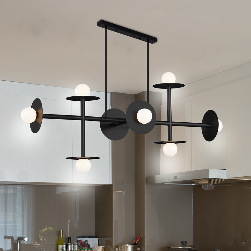 black iron art linear chandelier Industrial modern with glass small home decoration lamp