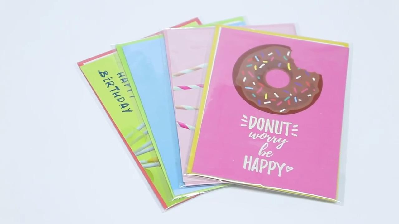 การออกแบบพิเศษใหม่หวาน Donut CUSTOM พิมพ์ช็อกโกแลตกลิ่นแฮปปี้การ์ดอวยพรวันเกิด