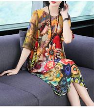 AYUSNUE 2020 Летнее шелковое платье женское повседневное пляжное платье с цветочным рисунком элегантные женские платья средней длины размера пл...(Китай)