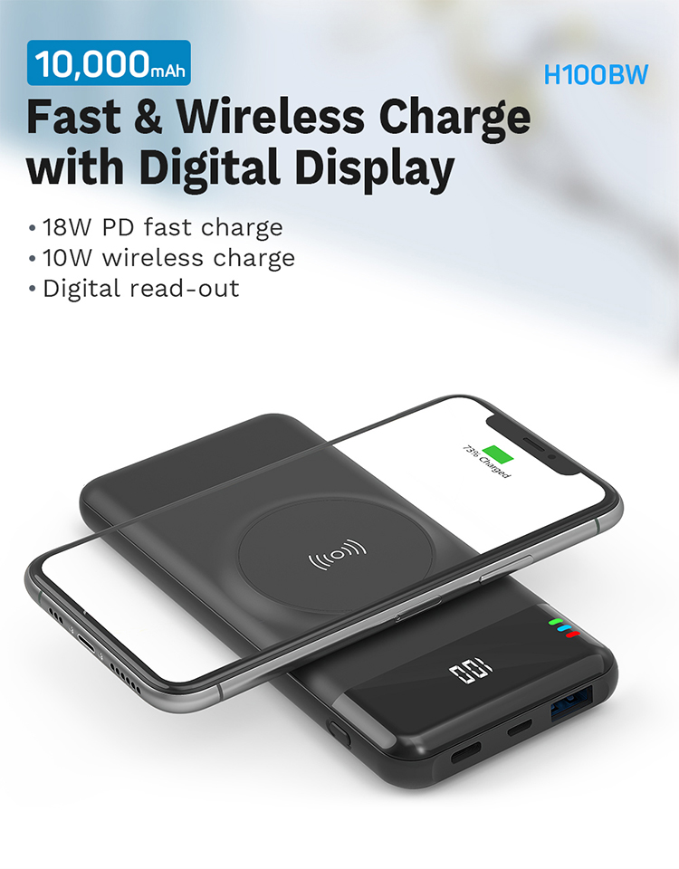 OEM Portable Mobile Phone Battery 10000mAh Qi Certified 10W 15W Fast Charging Wireless Power Bank