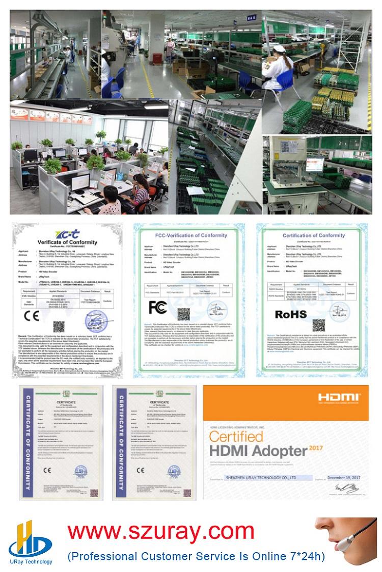 Uray MPEG-4 H.264 HDMI Để IP Dòng Video Mã Hóa HD Video IPTV Mã Hóa 4 Kênh HDMI Để HTTP RTSP RTMP bộ Mã Hóa