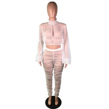 HAOYUAN, сексуальный комплект из двух предметов в горошек, прозрачный сетчатый топ и штаны, подходящие костюмы, вечерние, Клубные, наряды на ден...(Китай)