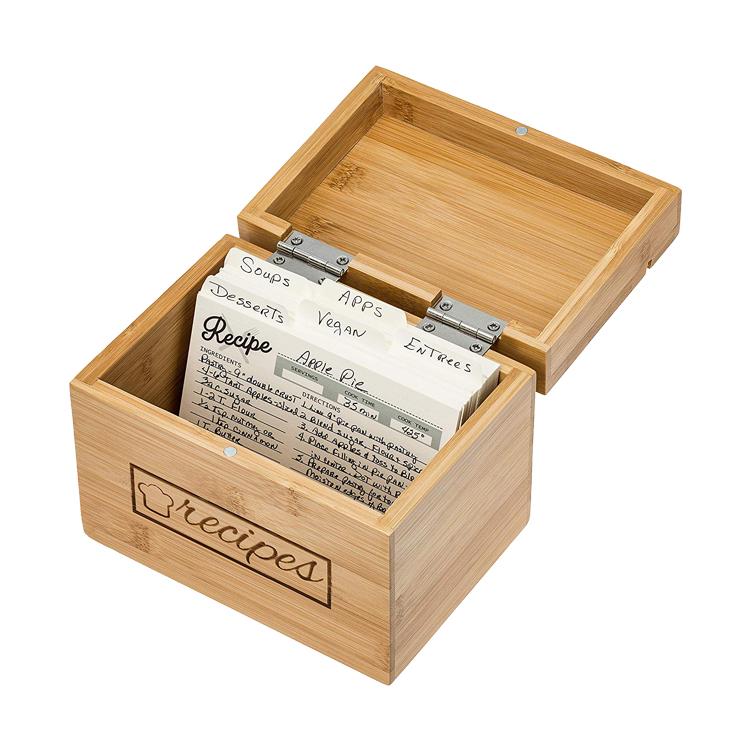 En gros Écologique Cadeau Créatif Organisateur de Cuisine En Bambou Boîte De Recette