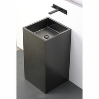 High end one piece black pedestal bathroom sink freestanding SUS 304 washroom basin with pedestal