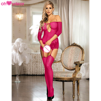 In stock fine mesh transparent women fishnet nylon bodystocking