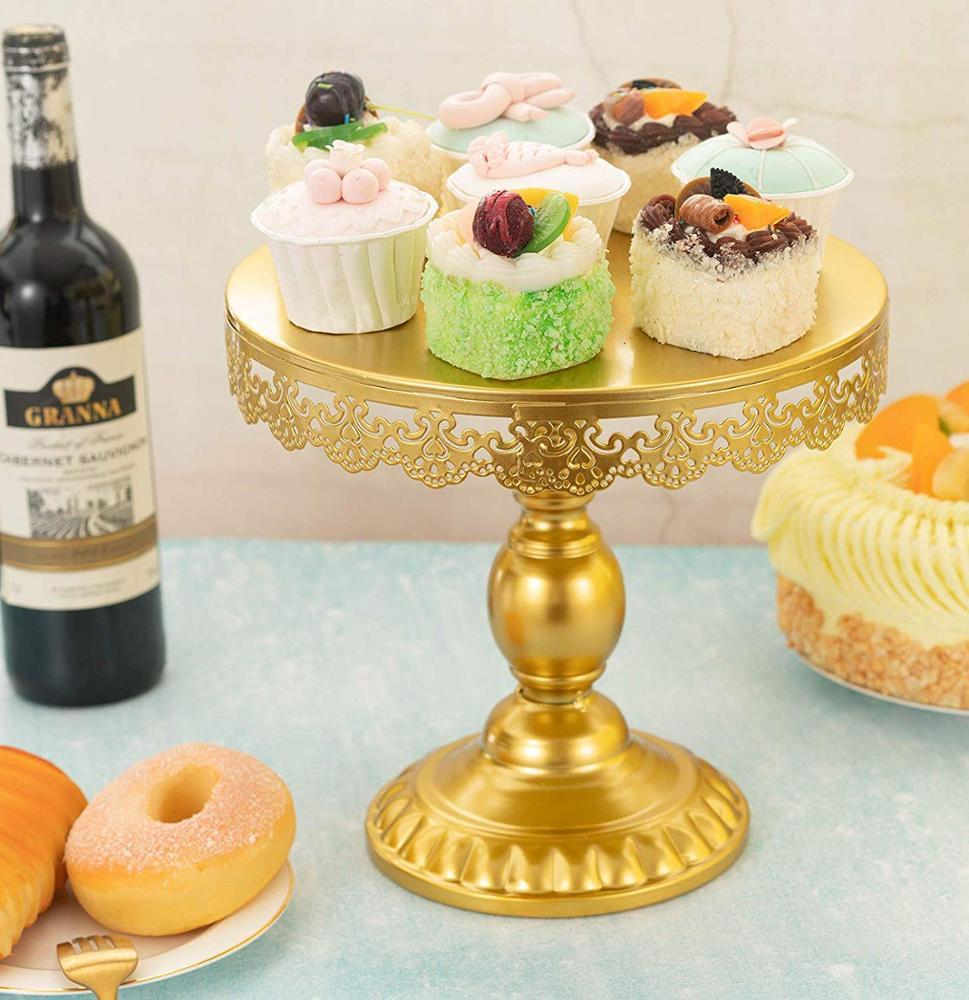 Украшение для дня рождения, Свадебный держатель для торта, Сервировочная тарелка, десертные подносы, круглая Золотая подставка для кекса