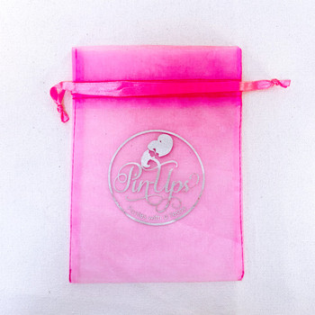 Sliver logo pink bag 8cm*12cm organza perfume bottle drawstring pouch jewelry gift wedding sheer organza bag for sales