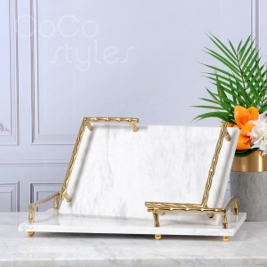 Cocostyles customized extraordinary mable serving trays with golden electroplating handles for nobiliary dessert home decor