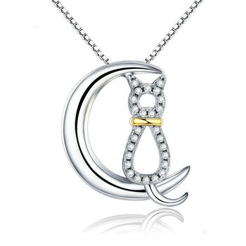 New s925 Sterling Silver Ladies Zircon White Gold Pendant Plated Gold Jewelry Crescent Shaped Cute cat Moon Necklace