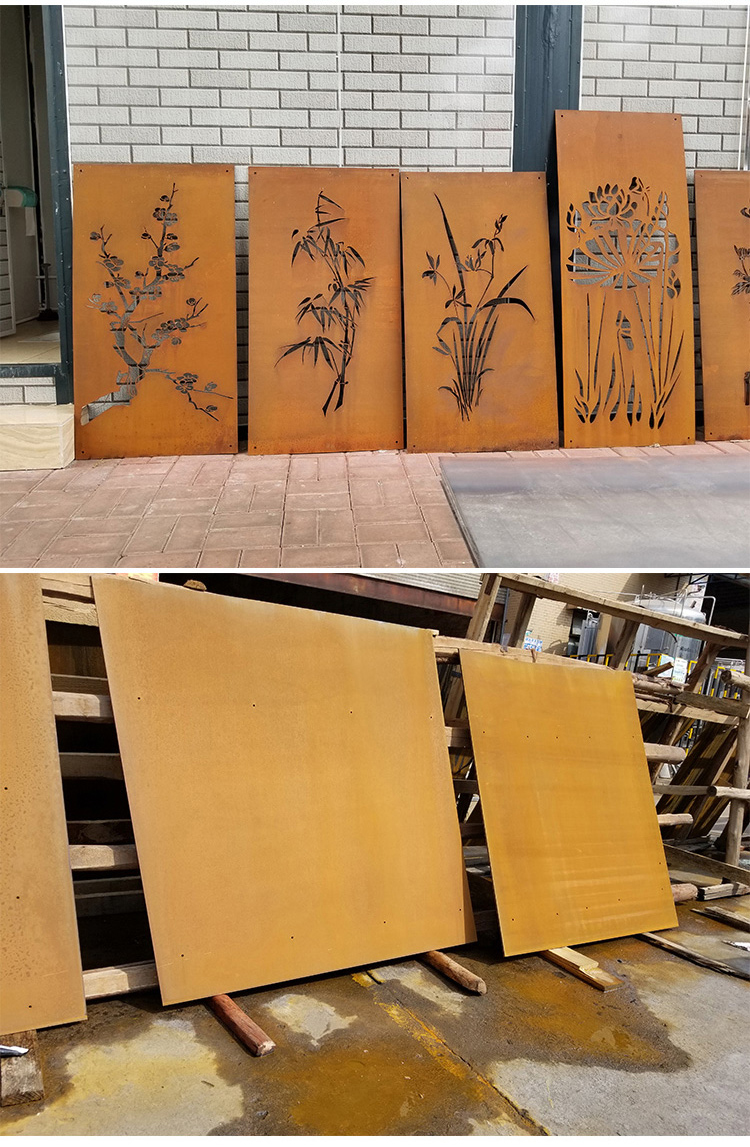 Decorative wall panel Corten steel facade cladding for building