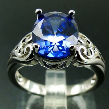 Oval Tanzanite and Diamond Ring S925 Sterling Silver Birthstone Jewelry Wholesale