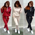 Set L-1093 2020 Autumn And Winter Women's European And American Fleece Women Tracksuit Sweatsuit 2 Piece Set