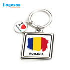 Romania souvenirs fashion keychain custom square foil factory personalized keychain