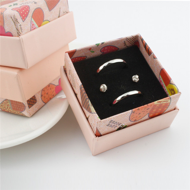 5*5*3 CM Can Add Logo Pink Flower Love Heart Small Earring Ring Jewelry Boxes