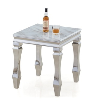 Contemporary Luxury Visionary Home Philosophy Bullet Legs Square Stainless Steel Coffee Side Table Marble End Table