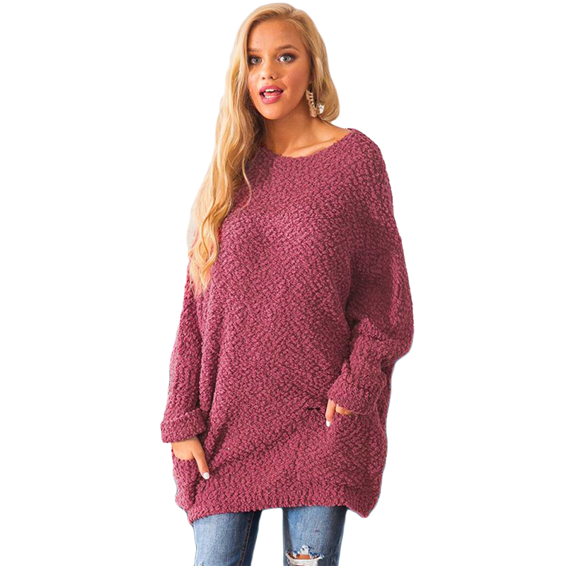 2019 New Design O-neck Women Winter Break Knit Tunic Lady Sweater