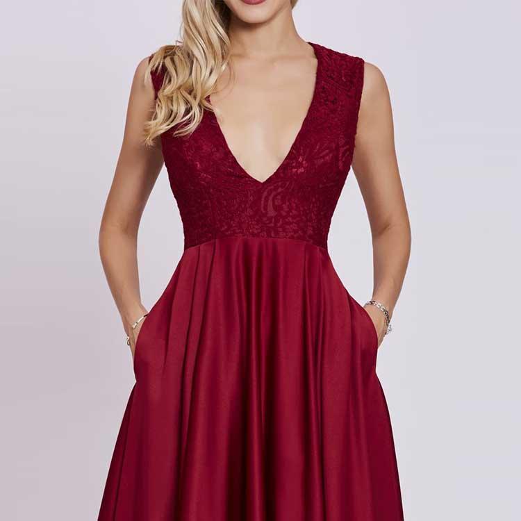 Großhandel Sexy Spaghetti Strap Rot Cocktail Frauen Kleid